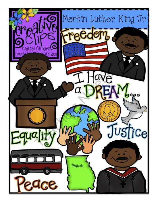Martin Luther King Jr Day Creative Clips Digital Clipart Product