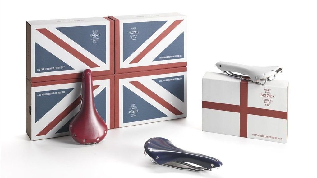 """Brooks Limited Edition Bicycle Saddles - http://DesireThis.com/941 - This saddle is part of the Union Jack Swallows Limited Edition 2012, a tricolour issue of the legendary B15, created to celebrate the Olympiad that in 2012 comes to visit London for the third time in history. The Red and Blue models will be delivered in the special """"Union Jack"""" packaging, while the White in the singular """"England"""" box."""