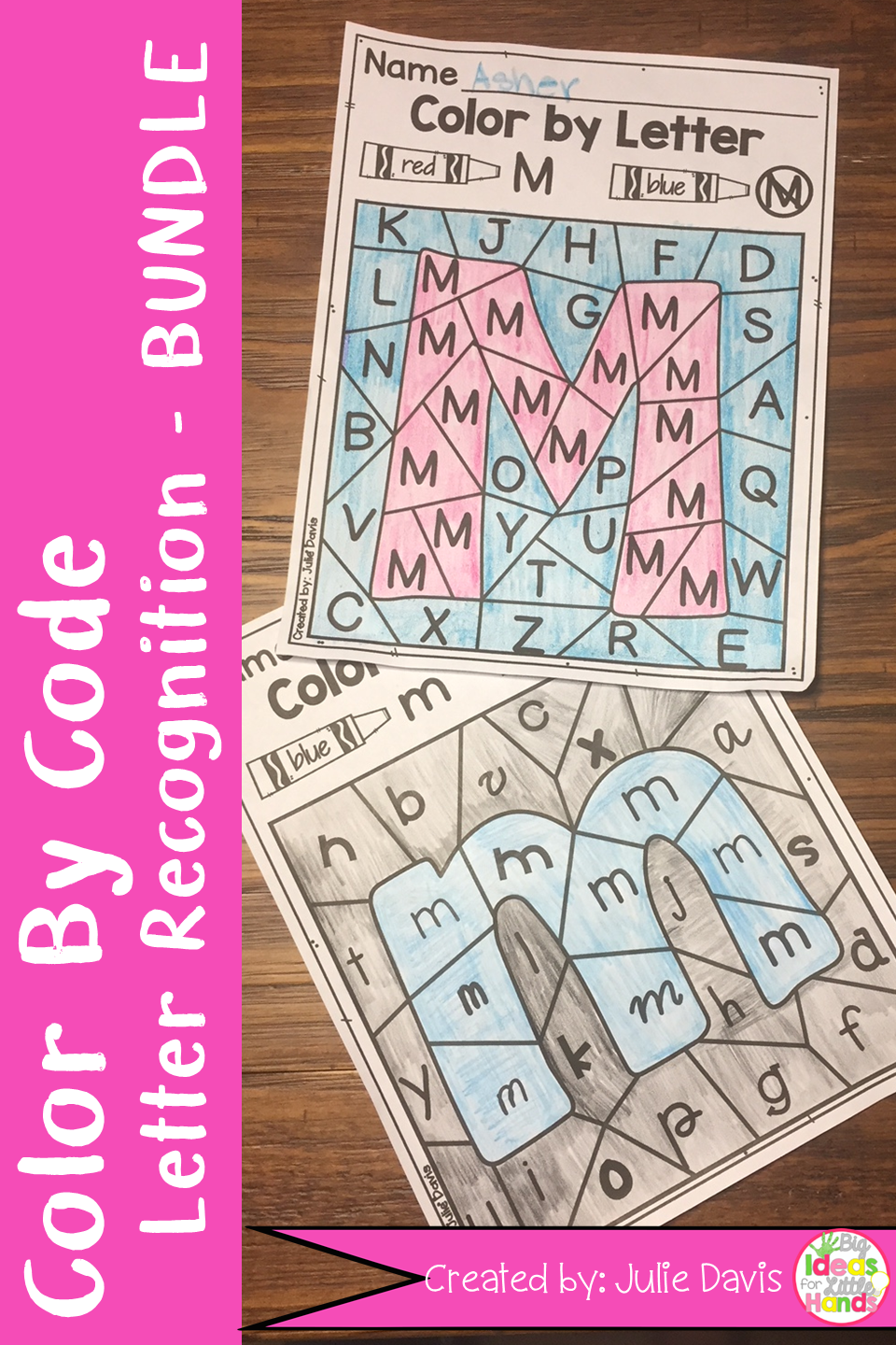 Color By Code Letter Recognition Activity and Worksheets Bundle ...