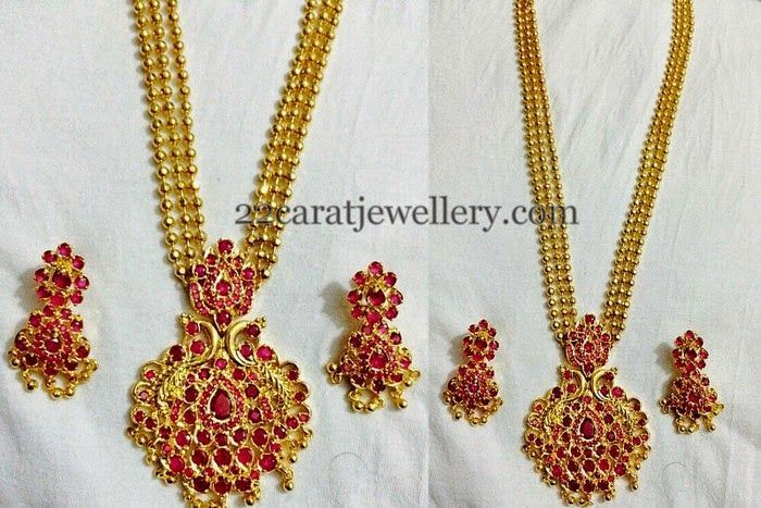 Jewellery Designs: Gold Color Beads Imitation Long Chain