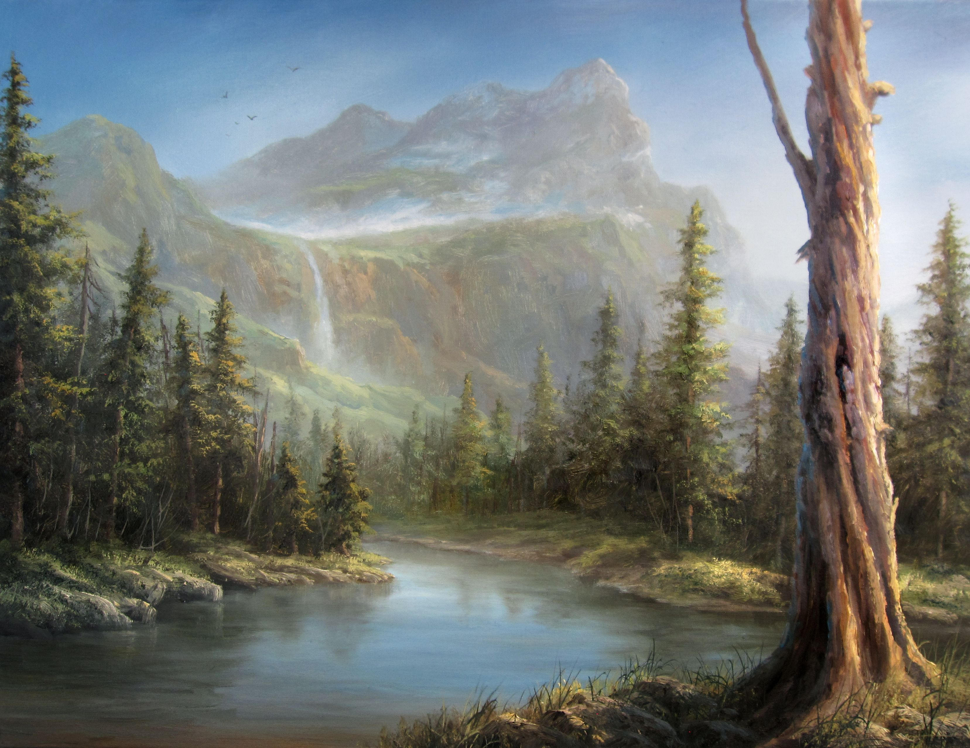 """Evergreen Lake"" Oil Painting by Kevin Hill Watch short"