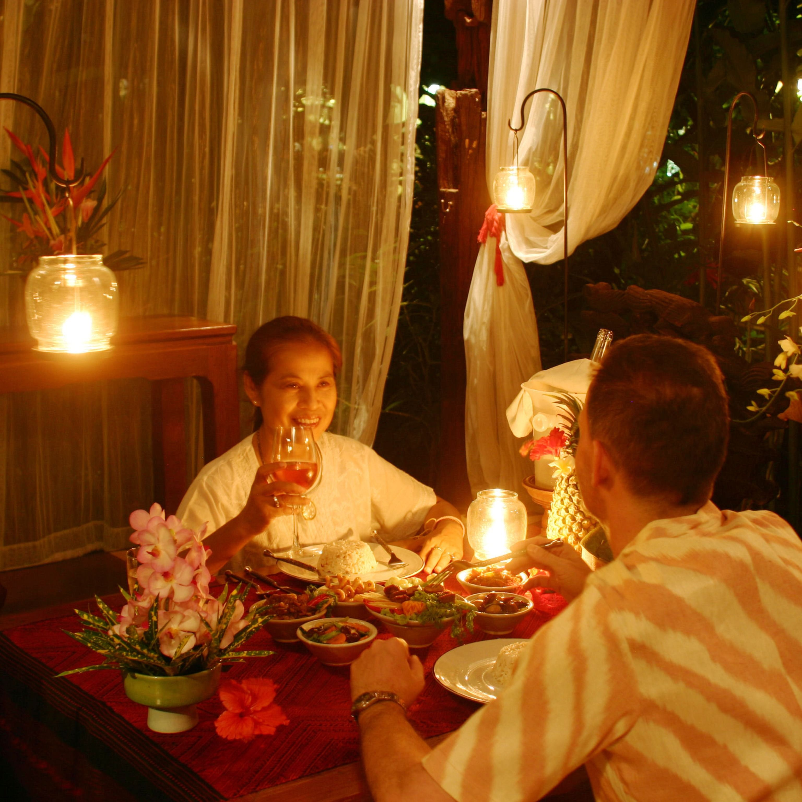 Romantic candle light dinner at the garden pavilion