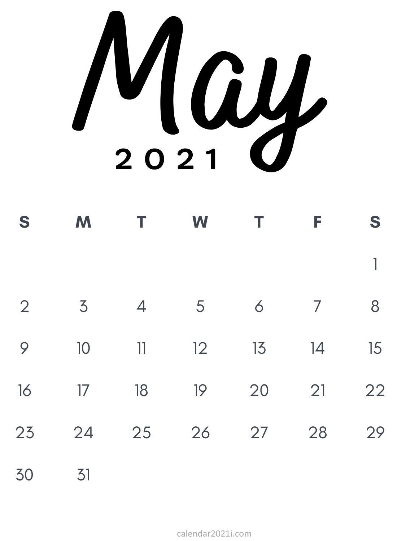 Calendrier E3 2021 May 2021 Minimalist Printable Calendar template design in black