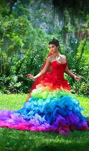 37fd20ab9c67 Rainbow wedding dress