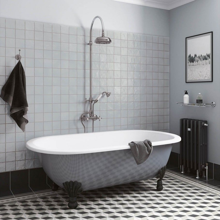 Montauk Sky 4x4 Ceramic Wall Tile Best Bathroom Flooring Victorian Bathroom Trendy Bathroom