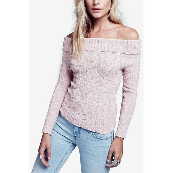 Free People Off-The-Shoulder Cable-Knit Sweater ($128) ❤ liked on ...