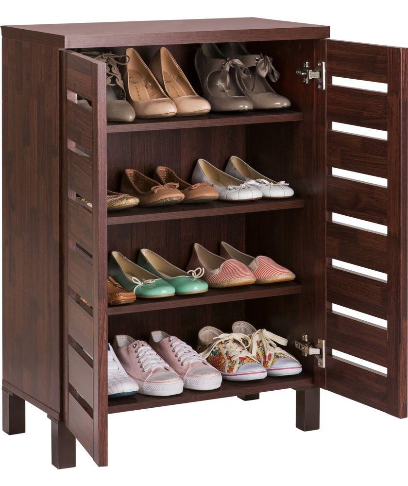 Buy Slatted 2 Door Shoe Storage Cabinet Mahogany Effect At Argos