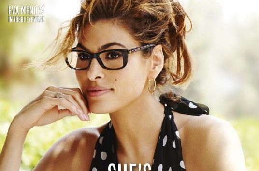 current eyeglass fashion  Glasses... Eva Mendes Returns in Latest Vogue Eyewear Campaign ...
