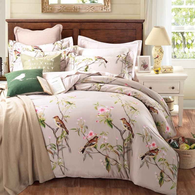Furniture Past Style 100 Cotton Bedding Sets Queen King Size Bed Linen Fl Plants Printed Sheet Duvet Set Material Comfortable Euro