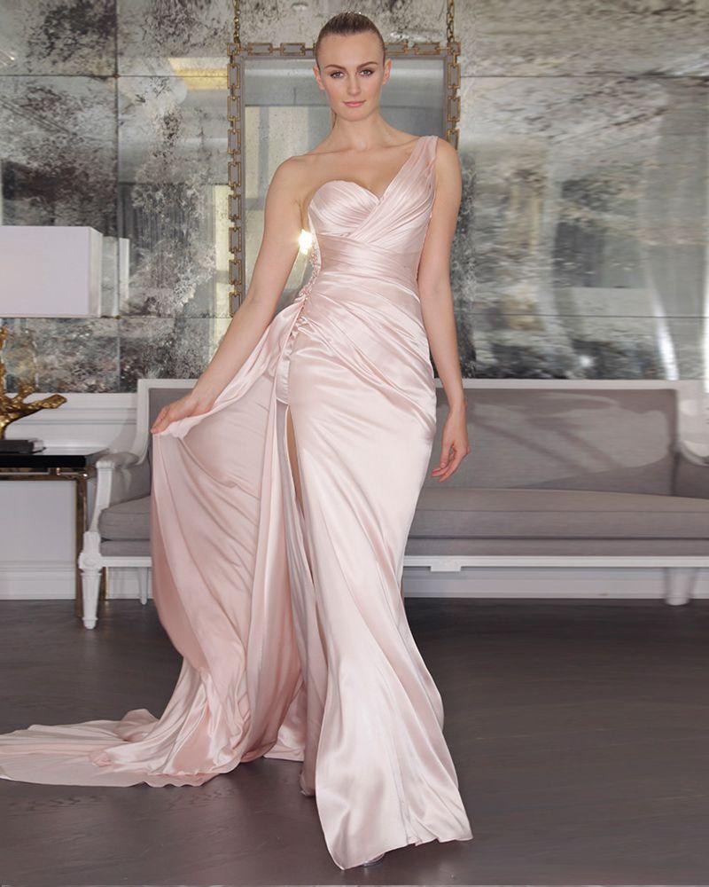 Amdml Fall 2017 Pink Blush Satin Mermaid Wedding Dresses Luxe Bridal ...