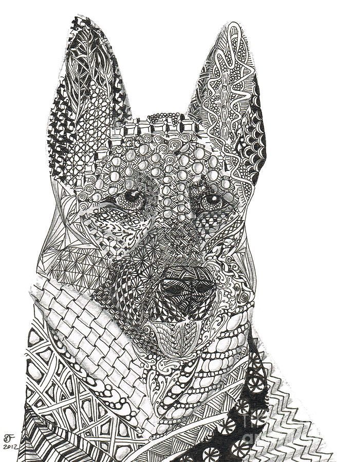 Zen tangle Art Coloring Page German Shepherd coloring pages