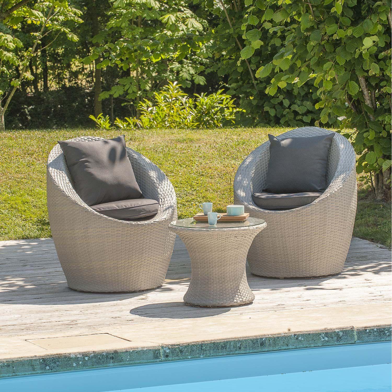 Salon Bas De Jardin Portovecchio Resine Tressee Gris 2 Personnes