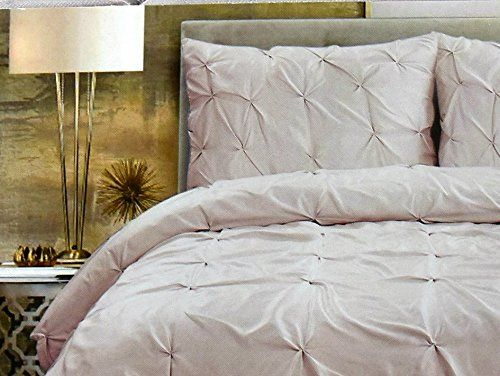 Tahari Home Pintuck Pale Pink Blush Ruched Duvet Cover 3 ...