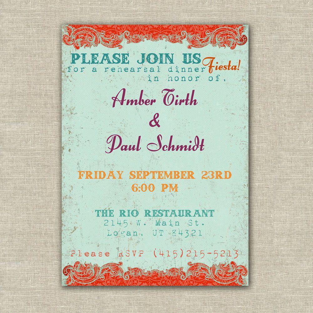 Printable Fiesta Wedding Rehearsal Dinner Invitations