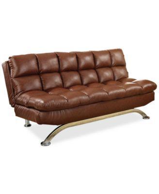 Grayson Faux Leather Futon Direct Ship Macys Com Leather