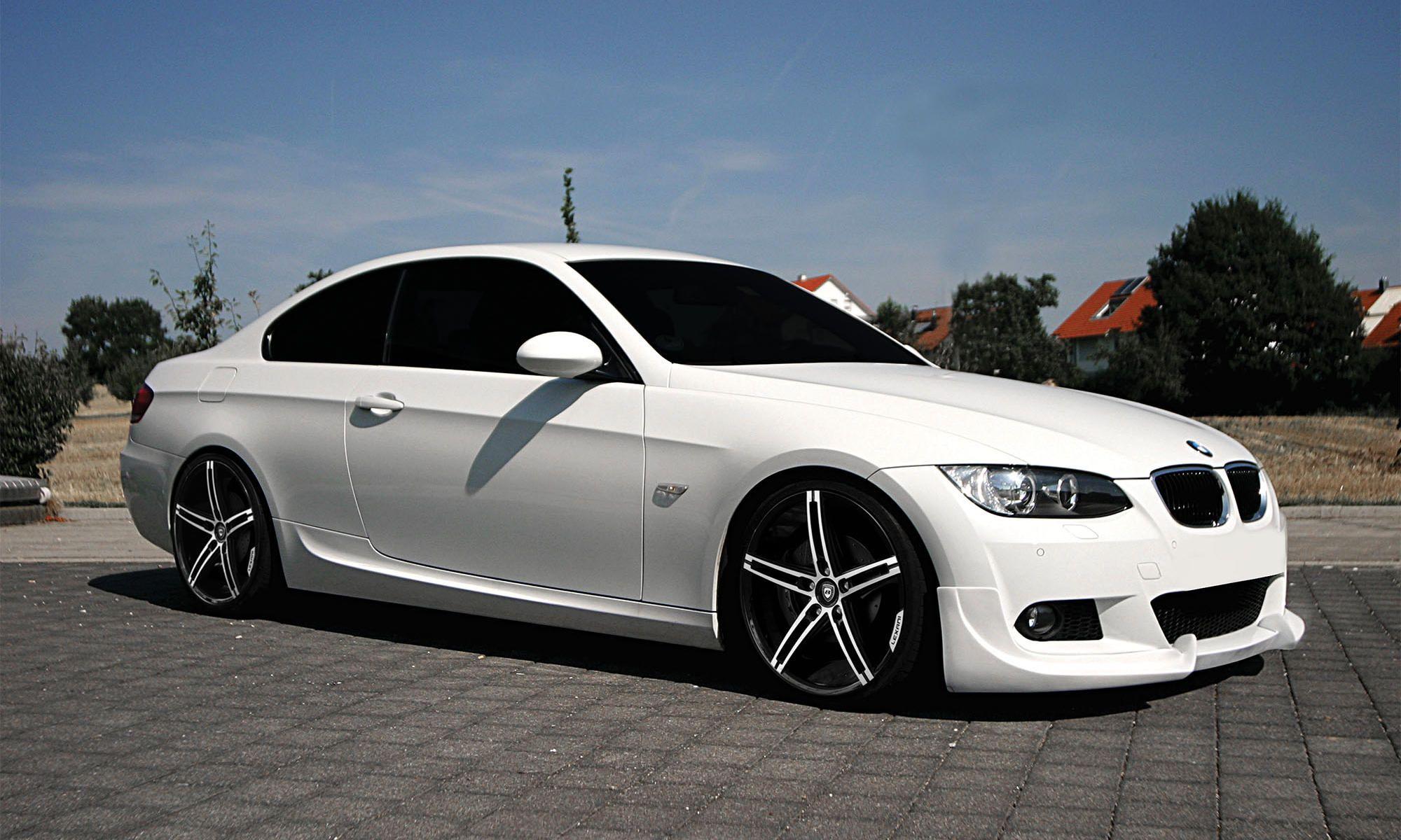2011 white bmw 3 with machined black and black lip lexani r three wheels staggered 20 inch r three rims
