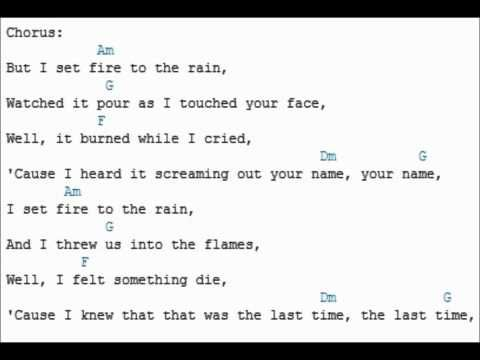 Adele - Set Fire to the rain (lyrics and guitar chords) Chordvid ...