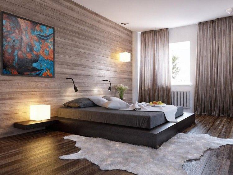 chambre cosy - lambris bois, lit design, sol en parquet contrecollé ...