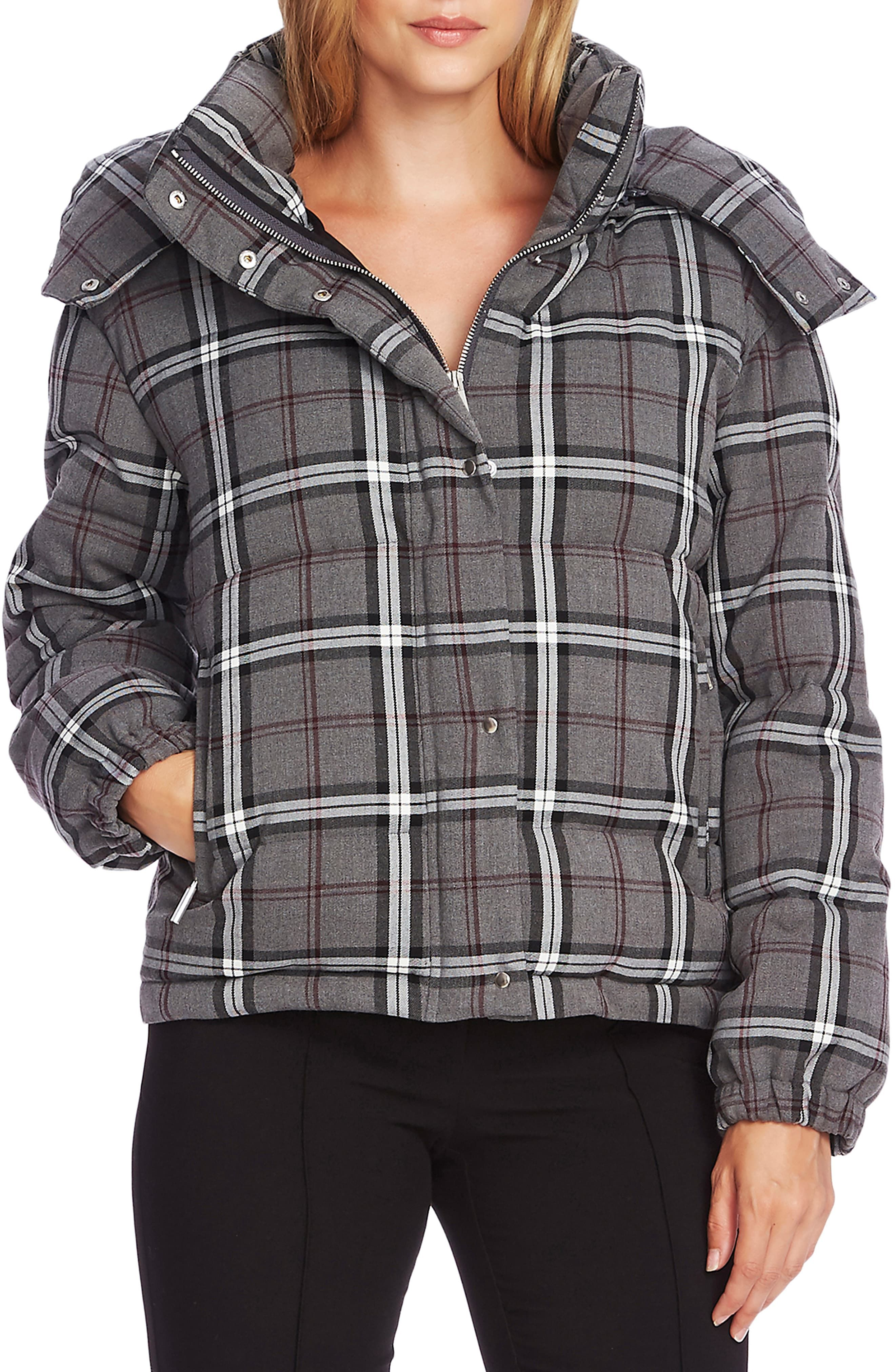 Vince Camuto Plaid Hooded Puffer Jacket Puffer Jackets Puffer Jacket Style Womens Fashion Jackets [ 4048 x 2640 Pixel ]
