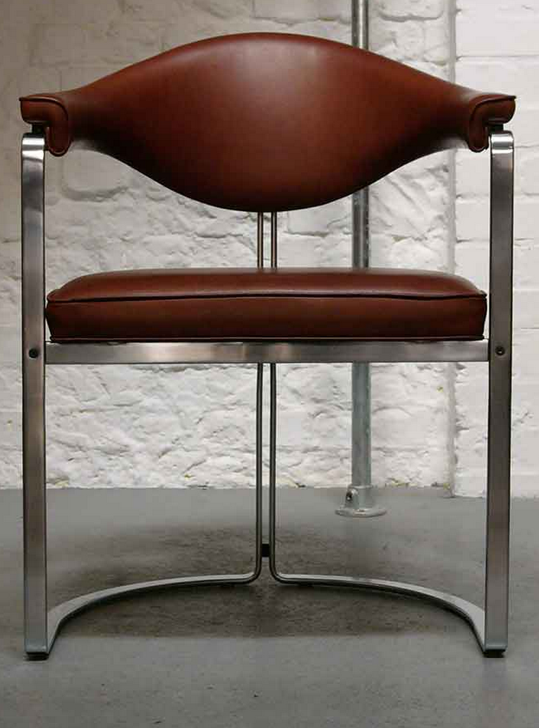 Horst Br 252 Ning Chromed Steel And Leather Chair For Kill