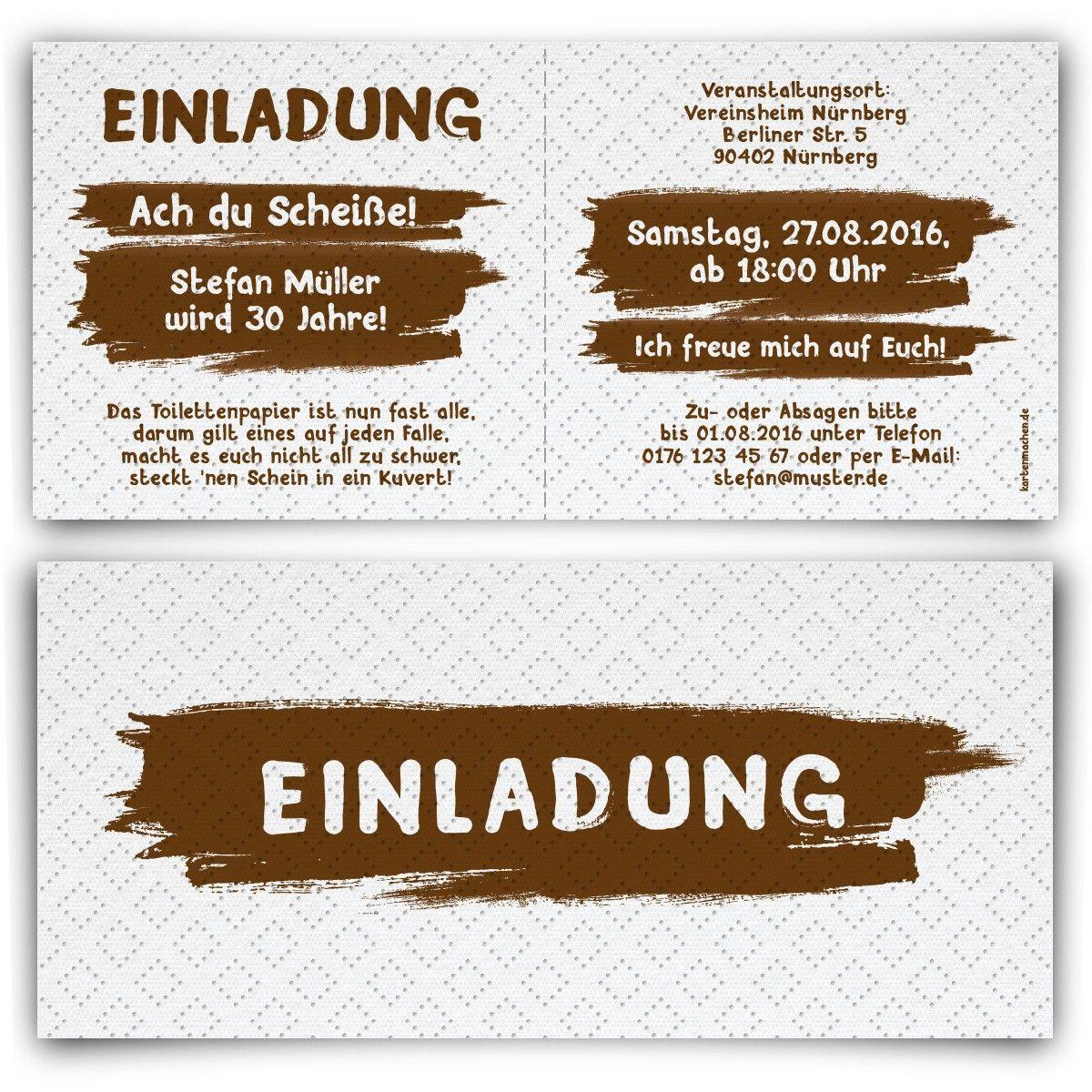 Einladungskarten als Toilettenpapier #geburtstag #einladung ...