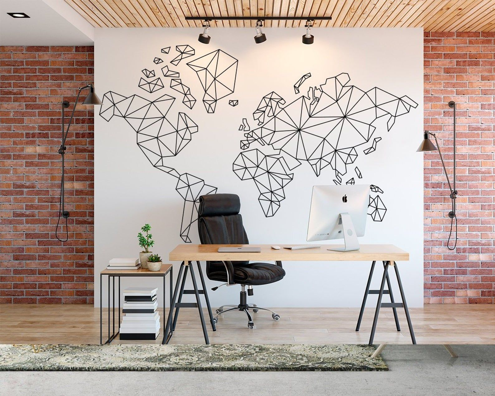 World Map Decal Geometric Wall Art Office Decor Abstract Art Large Decal Geometric Wall Art Minimalist Abstract Wall Art Modern Art With Images Geometric Wall Art Geometric Wall Abstract Wall Art