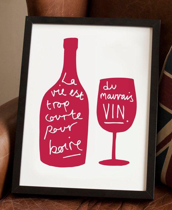 French Kitchen Art Prints: A4 French Wine Print