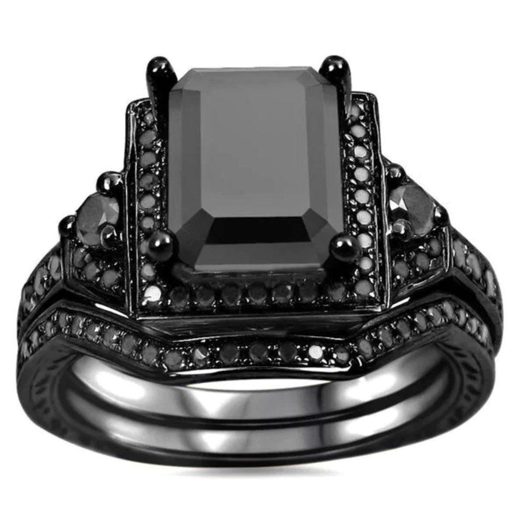 Black diamond sterling silver engagement ring set