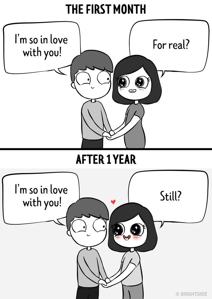 Latest Funny Relationship 11 Comics Showing a Relationship in the First Month vs a Year Later 12 Comics Showing a Relationship in the First Month vs a Year Later 10