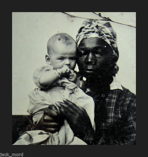 RARE SLAVE ERA 1850s 1/4 AMBROTYPE PHOTO AFRICAN AMERICAN NANNY & WHITE CHARGE
