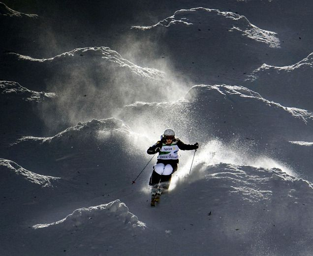 Hannah Kearney carves through giant moguls during training at Deer Valley. (Steve Griffin | Tribune file photo)