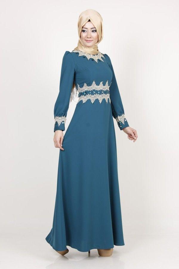Dantelli Abiye Elbise 7127 , www.modaselvim.com Muslim Fashion, Hijab  Fashion,