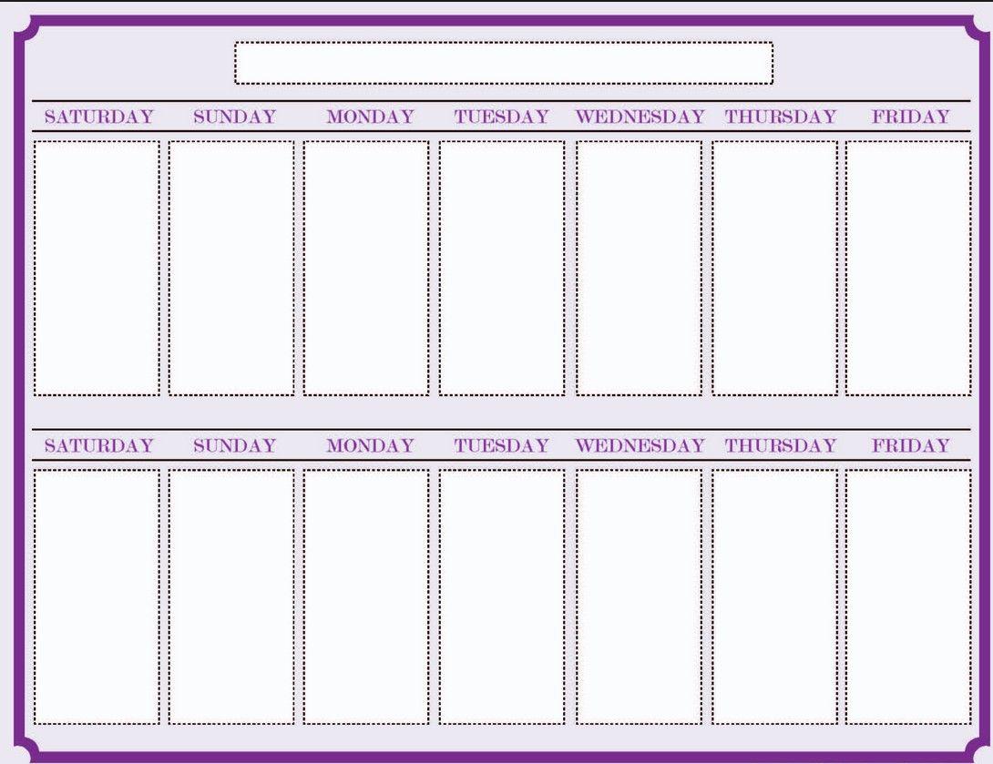 Weekly Blank Calendar Template   Calendar    Blank