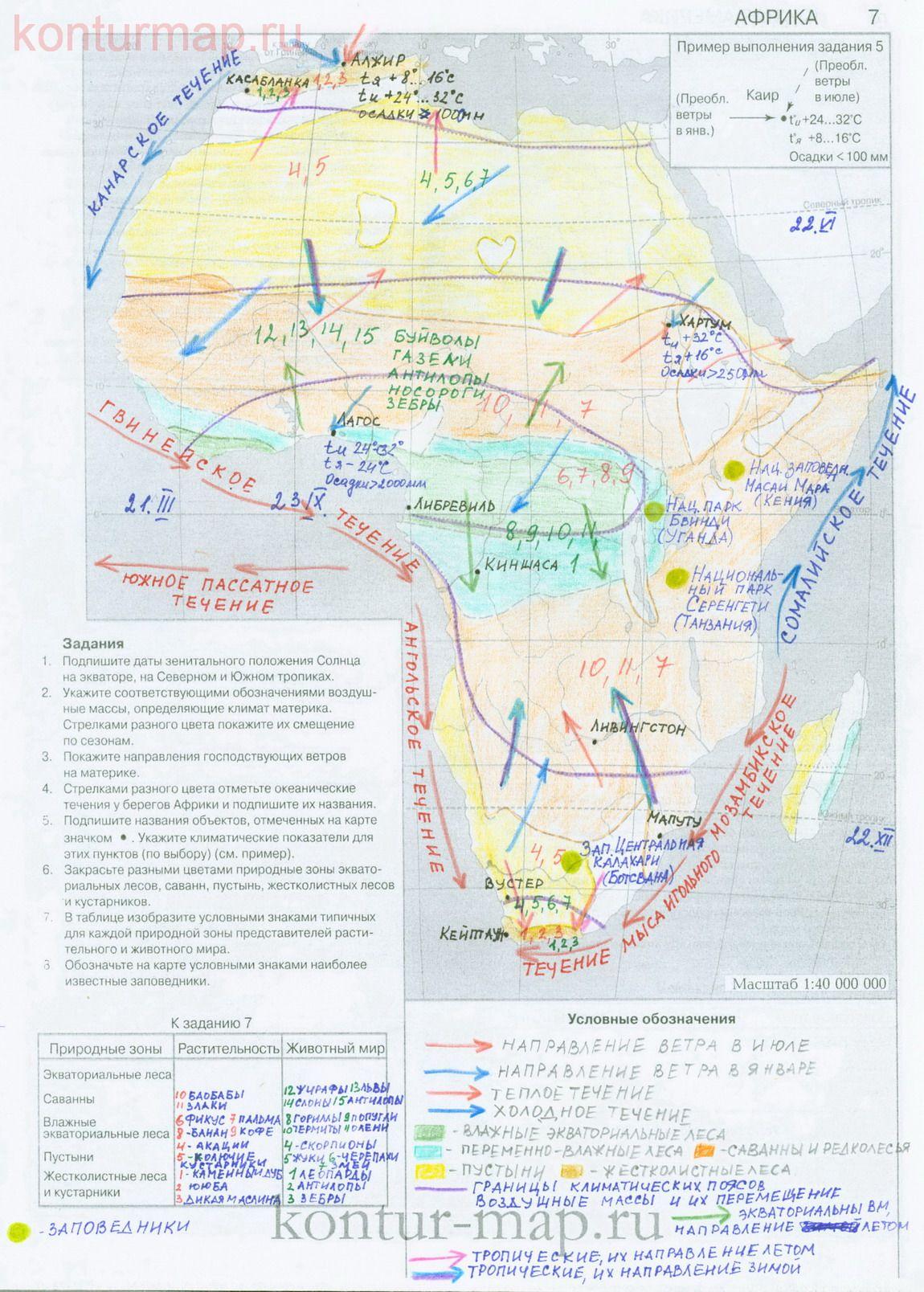 гдз по географии за 7 класс контурные карты