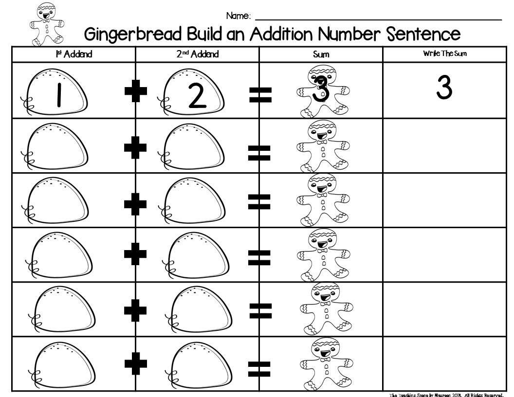 Gingerbread Build A 2 Addend Number Sentence Math Center