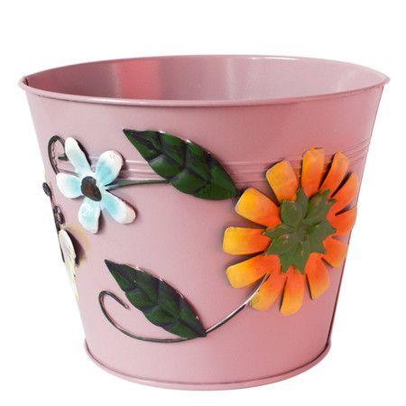 Cachepô Flowers and Butterflies - Pink GD - Almo Mix