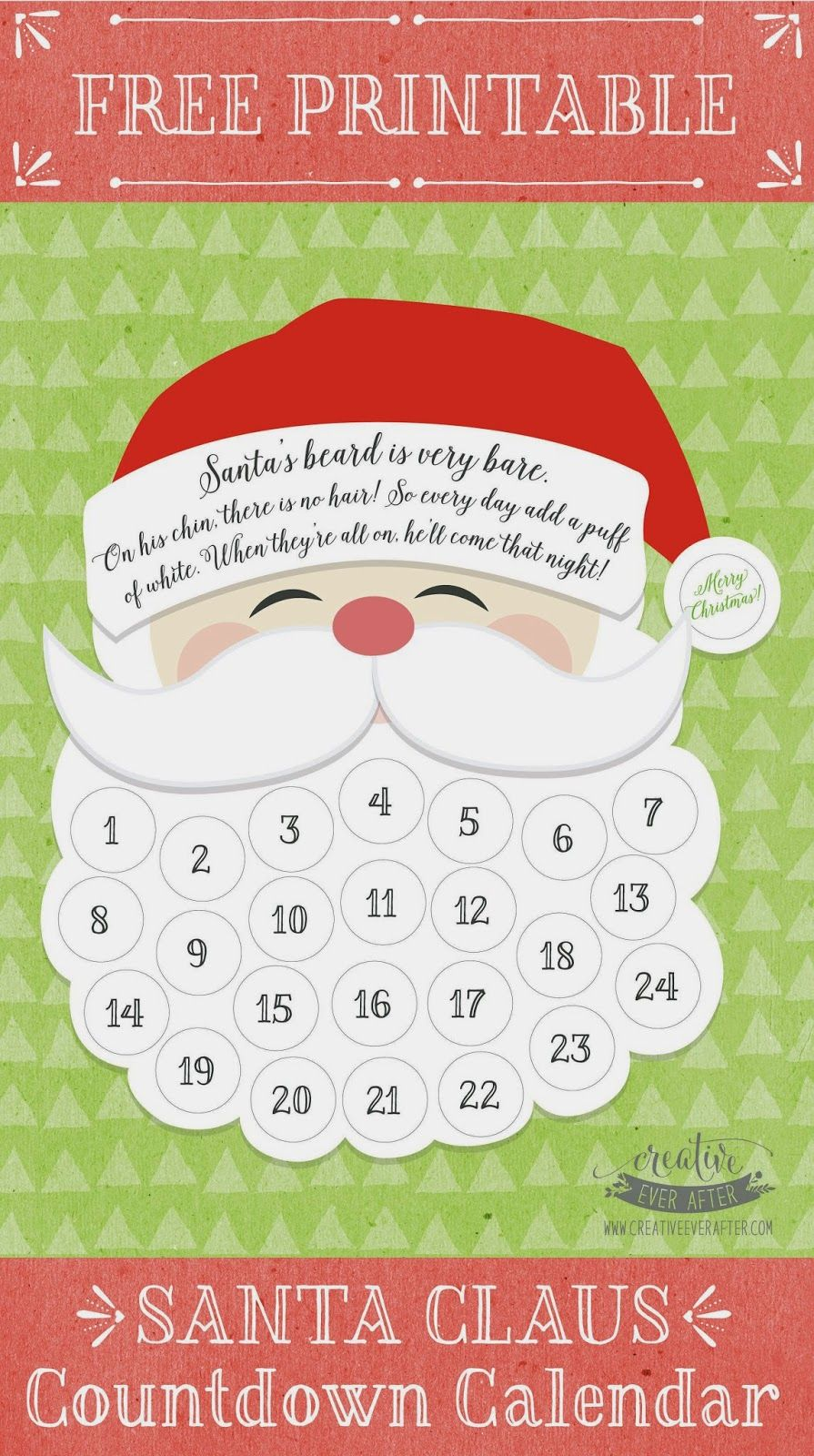 picture regarding Christmas Countdown Printable titled Free of charge Printable Santa Claus Beard Countdown Calendar