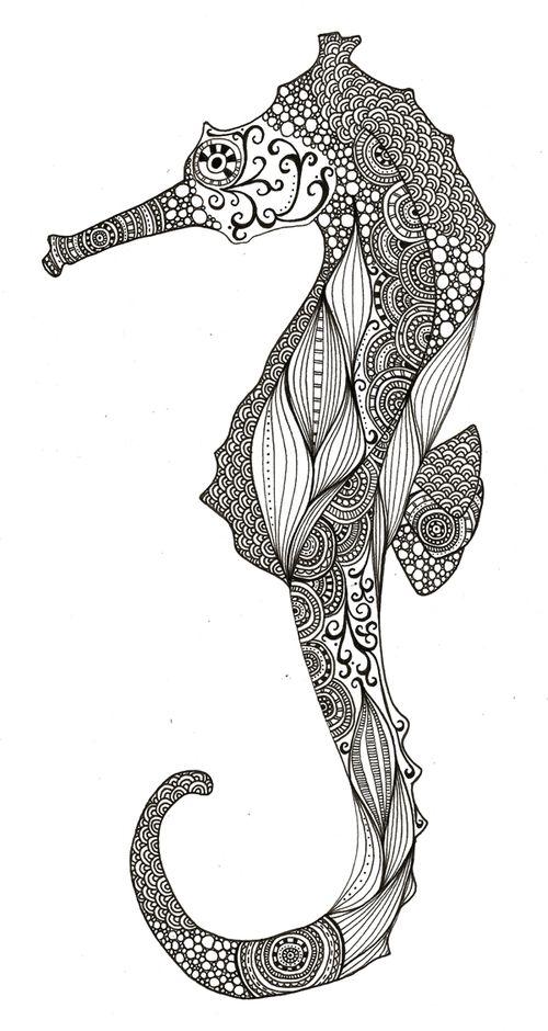 SEAHORSE ZENTANGLE | Lineas | Pinterest | Seahorses, Tattoo and Printing