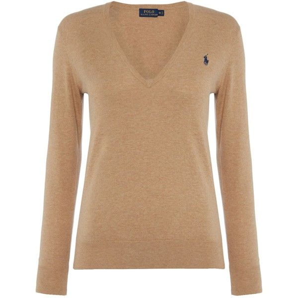 Polo Ralph Lauren Eloise v neck jumper ($160) ❤ liked on Polyvore featuring  tops