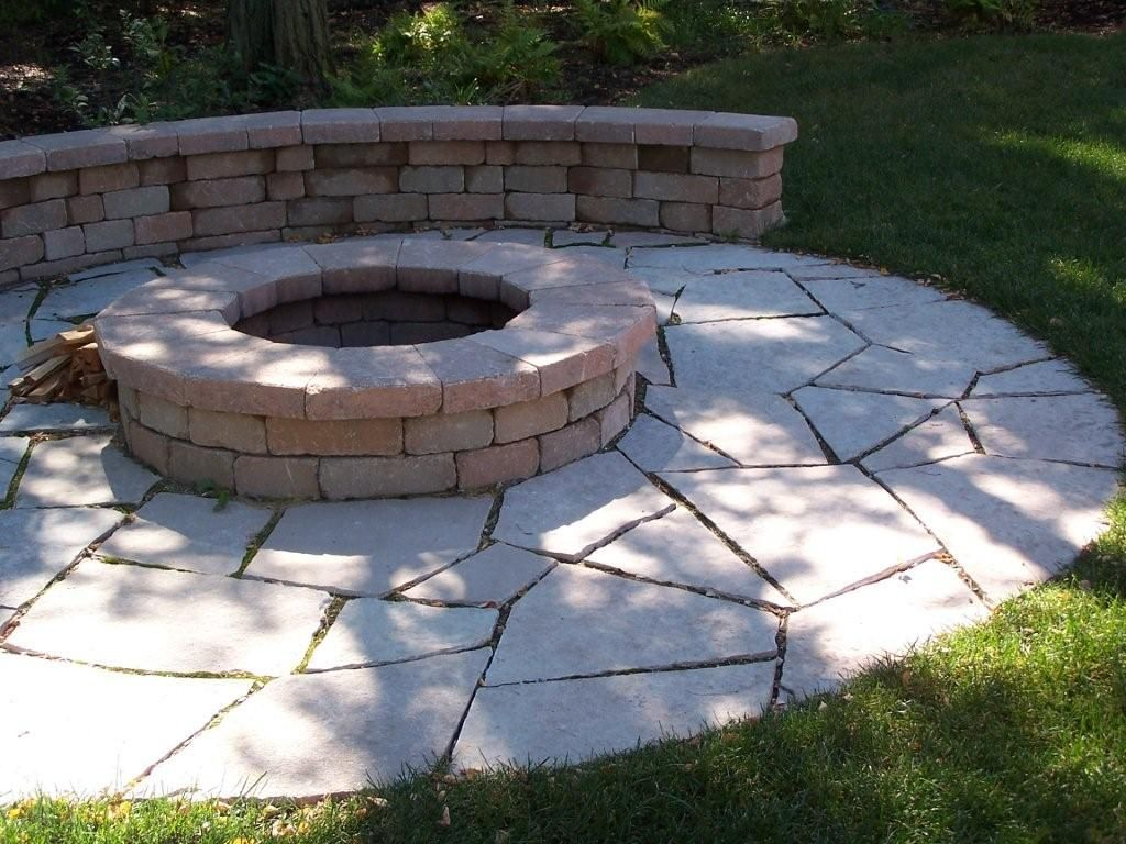 flagstone patio with fire pit. Firepit, Seatwall, Flagstone Patio. Patio With Fire Pit U
