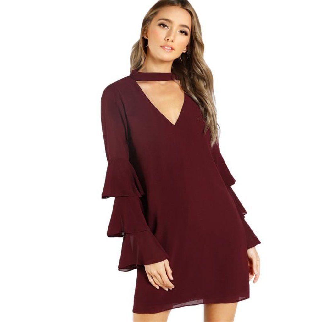 Womenus burgundy long sleeve layered flare dress products