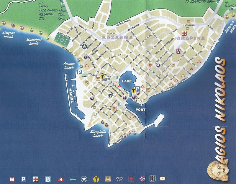 Agios Nikolaos City Map LASSITHI in CRETE Pinterest City maps