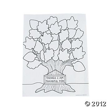 Tree Of Thanks Coloring Sheets - Oriental Trading   Thanksgiving ...
