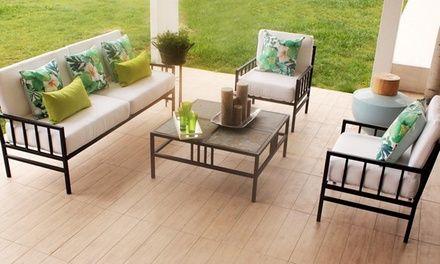 Sofa Fabricado En Fierro Con Cojines De Gabardina Y Espuma De Alta Densidad Y Mesa De Cen Muebles De Jardin De Hierro Muebles Para Terrazas Muebles Para Patio