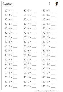 vom ganzen zehner wegnehmen lernstübchen | kopfrechnen, mathe und 1. klasse mathe arbeitsblatt
