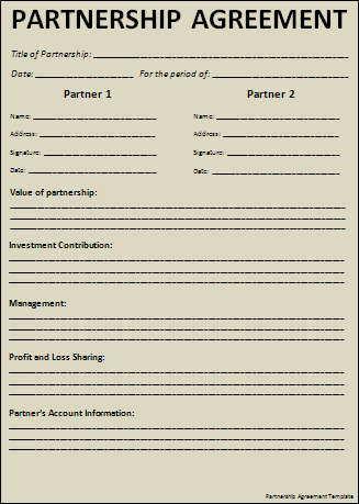 printable sample partnership agreement sample form