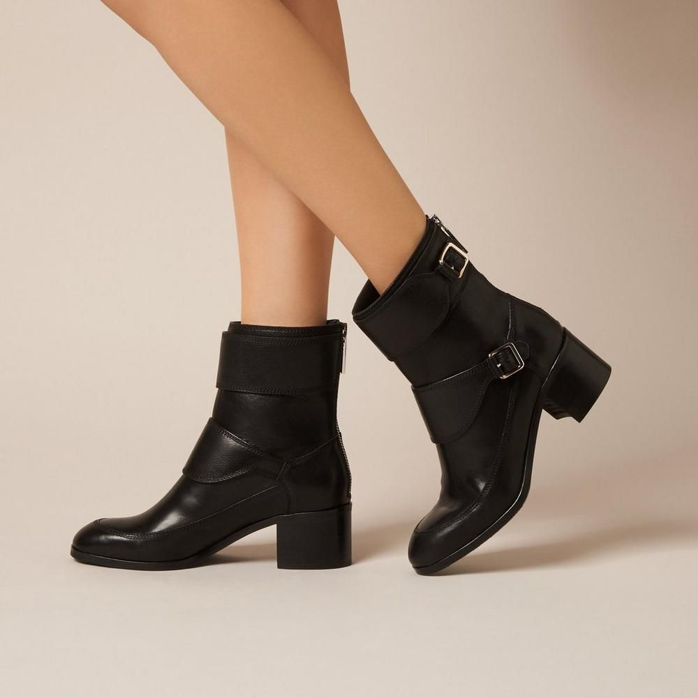 L.K. Bennett Buckled Leather Ankle Boots