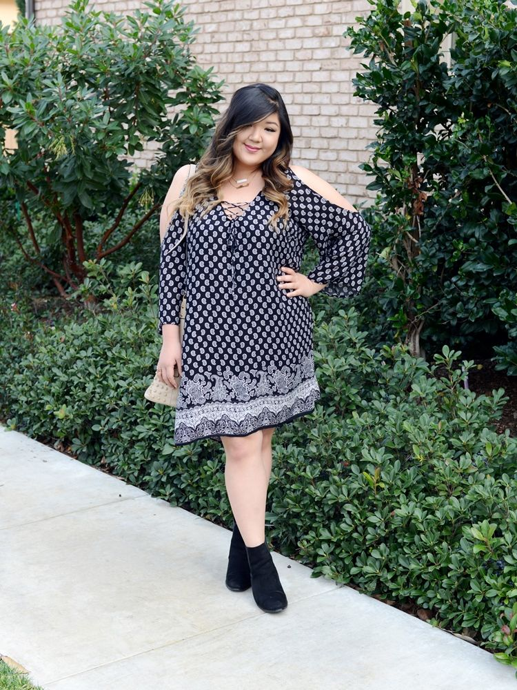 3e6f835410a Curvy Girl Chic Plus Size Fashion Blog Charlotte Russe Cold Shoulder Dress  and Eloquii Ankle Boots