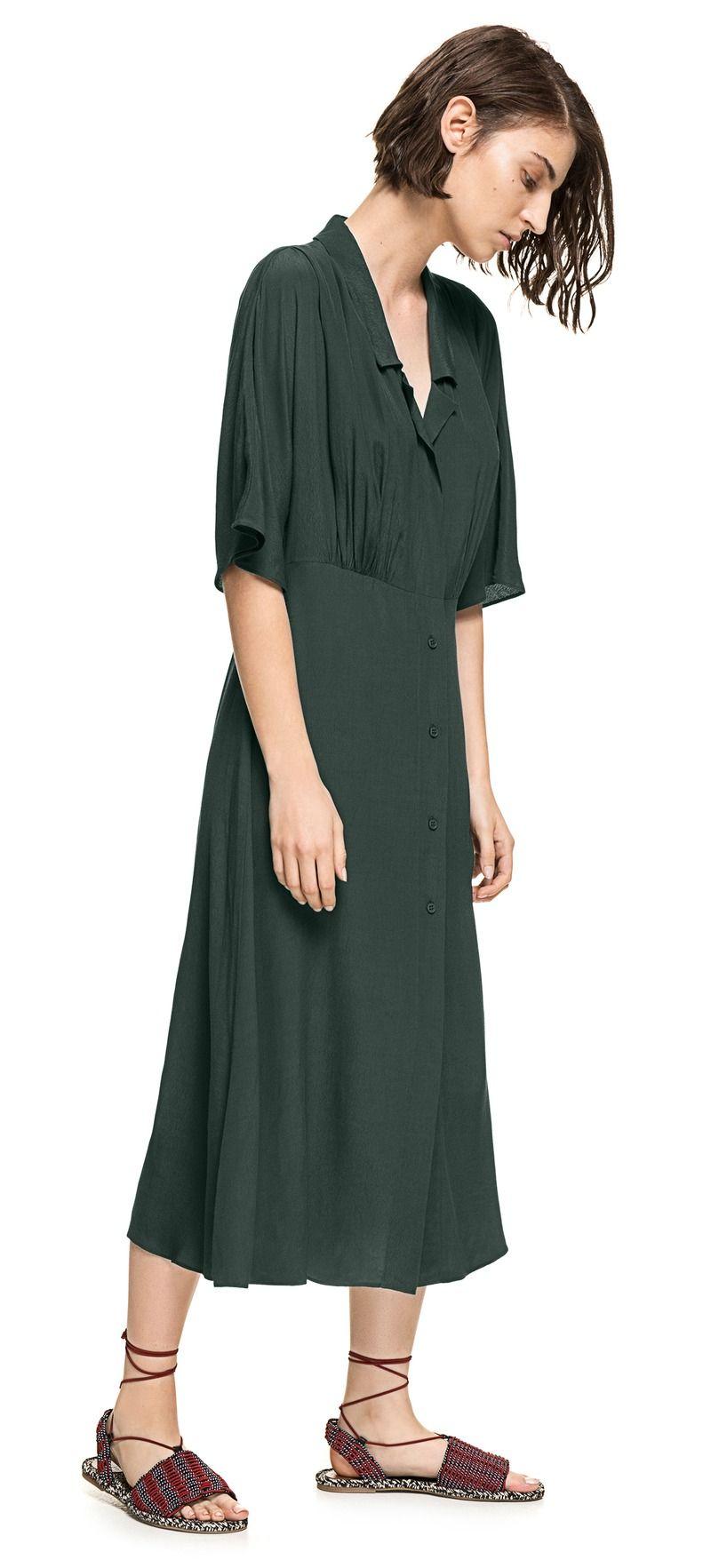 Camisero Largo Oscuro Verde Vestido Ready To Wear F1vxqtSg