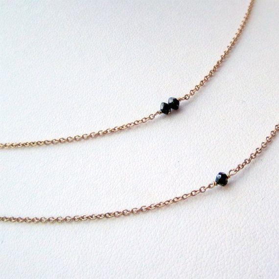 Black Diamond Necklace Gold Jewelry Layered Necklace Set